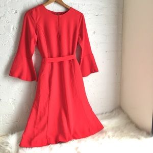 Ann Taylor red bell sleeve knee length dress